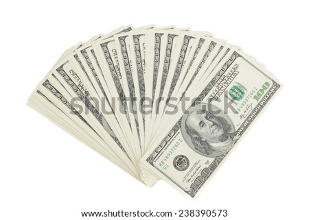 Stack of hundred-dollar bills on white background on Business and Finance - stock photo