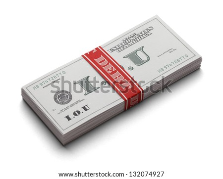 Stack Of I.O.U's as paper currency with a money band that says Debt on it. Isolated on a white background. - stock photo
