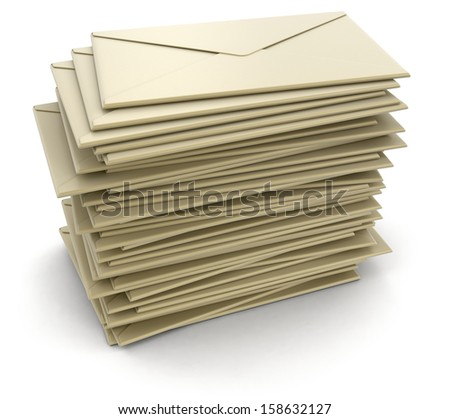 stack of letters  (clipping path included) - stock photo