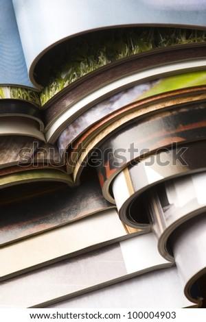 stack of magazines - stock photo