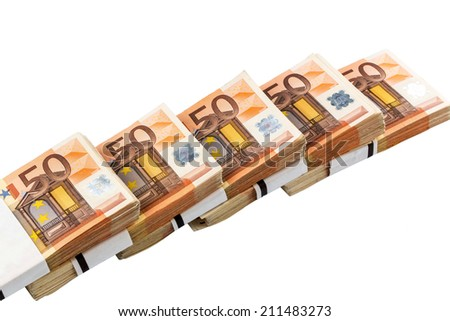 stack of many fifty euro banknotes. symbolic photo for money, wealth, income and expenditure - stock photo