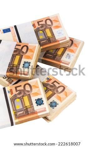 stack of many fifty euro bills. symbol photo for money, wealth, income and expenditure - stock photo