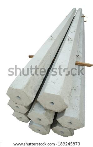Stack of many Hexagon concrete pillar. - stock photo