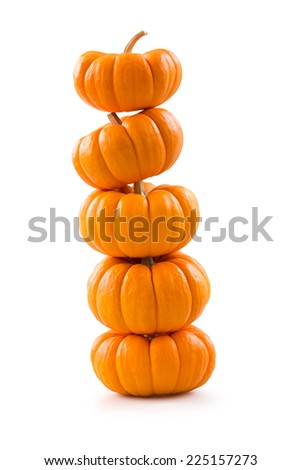 Stack of miniature pumpkins - stock photo