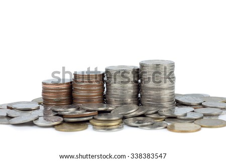 Stack of money coin isolated on white background - stock photo