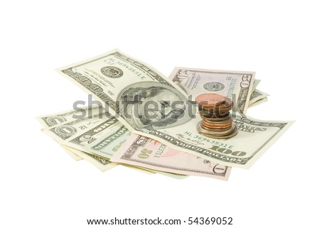 Stack of Money & Coins Isolated on a White Background - stock photo
