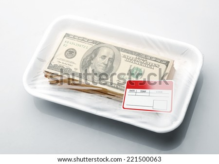 Stack of money in vacuum packaging - stock photo