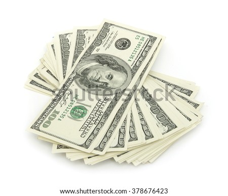 stack of money isolated on white background - stock photo