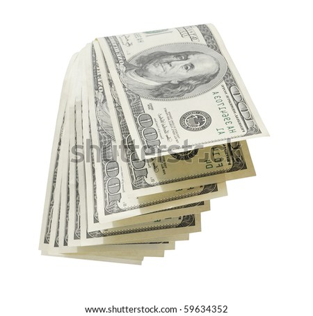stack of money isolated on white background. - stock photo
