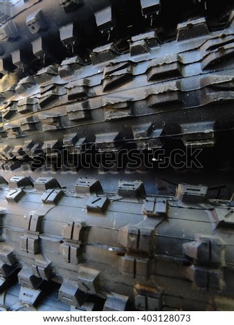 stack of mtb tyres - stock photo