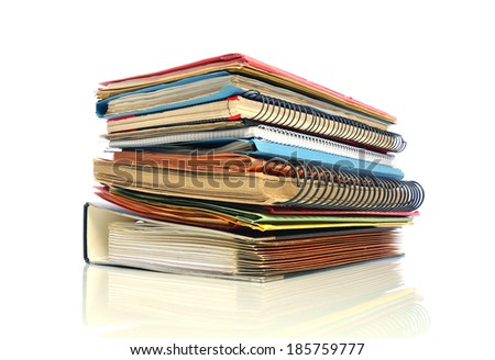 Stack of multicolored office files - stock photo