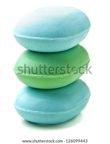 Stack of new colorful Soap Bars on white background. - stock photo