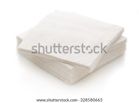 Stack of new disposable paper table napkins - stock photo