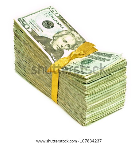 Stack of New United States Currency Tied in a Ribbon - Twenties - stock photo