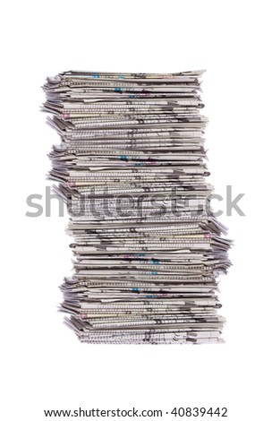 Stack of newspapers isolated on white - stock photo