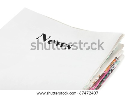 Stack of newspapers News isolated on white background - stock photo