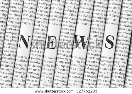 "Stack of newspapers with small text and big letters forming together word ""NEWS"" - stock photo"
