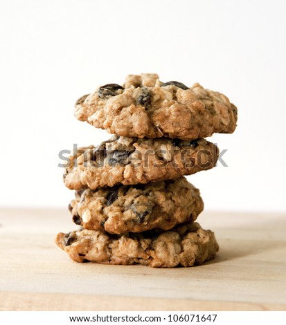 Stack of oatmeal cookies - stock photo