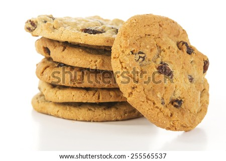 stack of oatmeal raising cookies slightly elevated - stock photo