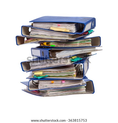 Stack of office folders isolated on white background - stock photo