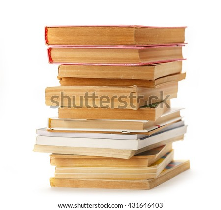 Stack of old books and magazines closeup - stock photo