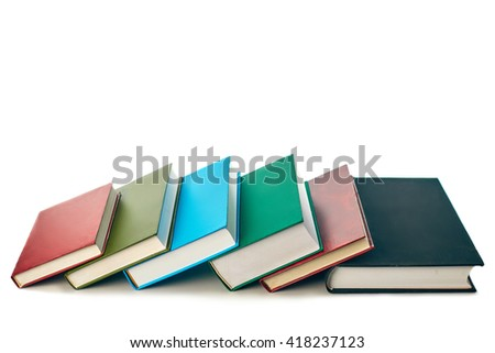 stack of Old books isolated on white white background - stock photo