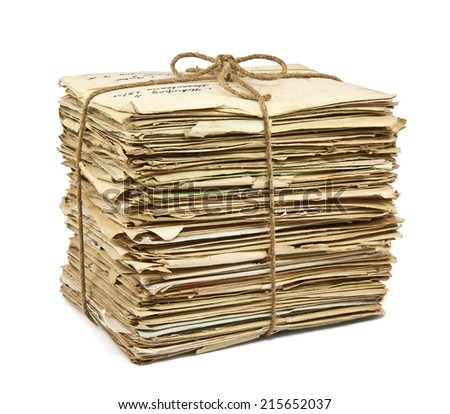 Stack of old letters on white background - stock photo