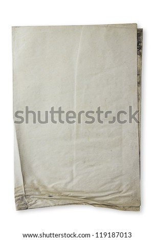Stack of old paper document on white background - stock photo