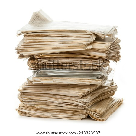 Stack of old paper documents - stock photo