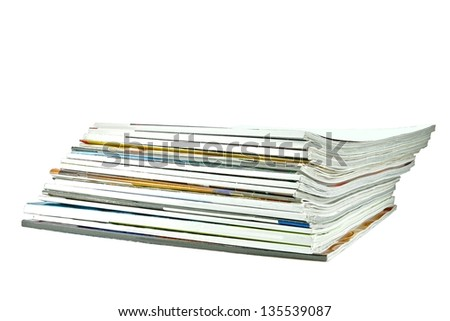 Stack of old periodicals with a blank cover with room for your text, isolated on white - stock photo