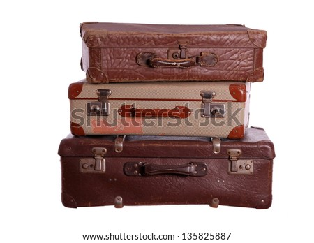 stack of old suitcases - stock photo