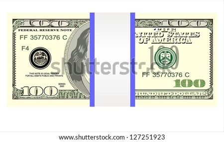 Stack of one hundred dollar bills, isolated on white. - stock photo