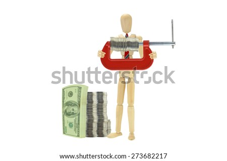 Stack of One Hundred Dollars Bills Coin Vice Grip Wood Mannequin wearing red tie isolated on white background - stock photo