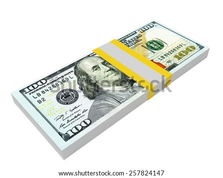 Stack of one hundred dollars bills isolated on white background - stock photo