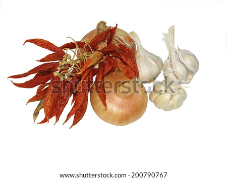 Stack of onions, chilli, garlic isolated on white background - stock photo