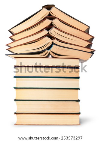 Stack of open and closed old books bottom view isolated on white background - stock photo