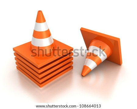 stack of orange road traffic cones on white background - stock photo