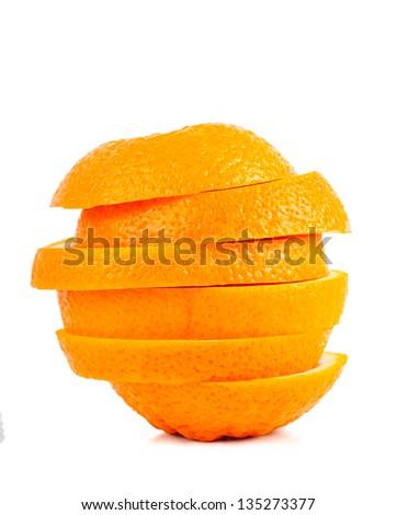 Stack of orange slices isolated over white background - stock photo