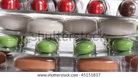 stack of packs with pills - stock photo