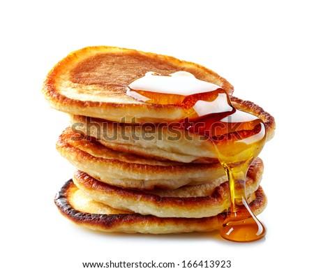 stack of pancakes on white background - stock photo