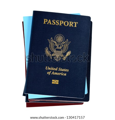 Stack of passports, US passports on the top - stock photo