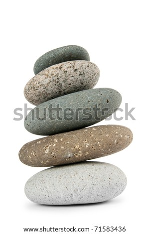 Stack of pebbles isolated on the white - stock photo