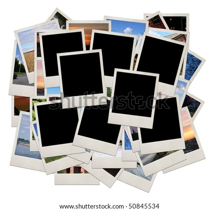 Stack of photo shots with space for your photos, isolated - stock photo