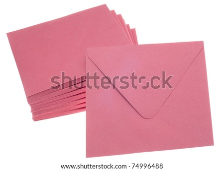 Stack of Pink Invitation Envelopes Isolated on White with a Clipping Path. - stock photo