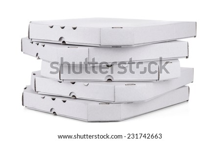 Stack of pizza boxes, isolated on white - stock photo