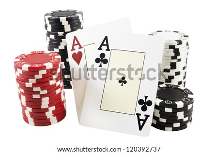 Stack of poker chips and two aces over white isolated background - stock photo