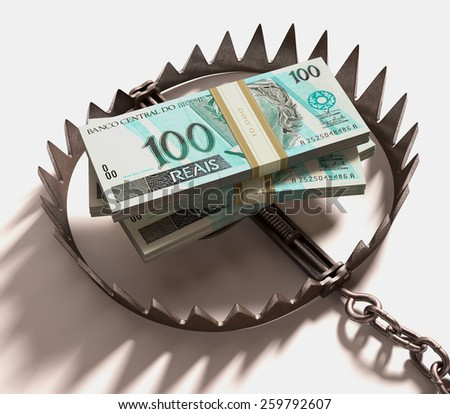 Stack of Real (Brazilian money) into a trap. Clipping path included. - stock photo