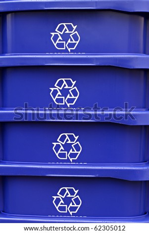 Stack of recycling containers - stock photo