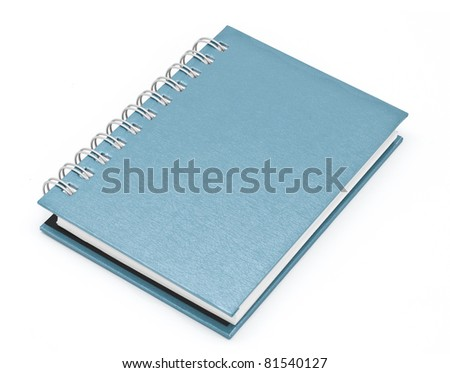 stack of ring binder book or blue notebook isolated on white background - stock photo
