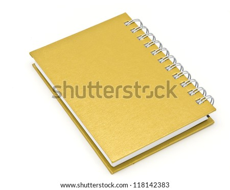 stack of ring binder book or brown notebook isolated on white background - stock photo